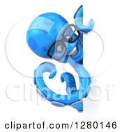 Clipart Of A 3d Bespectacled Blue Octopus Smiling And Pointing Around A Sign Royalty Free Illustration by Julos