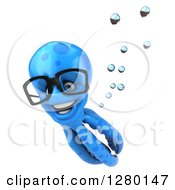 Clipart Of A 3d Bespectacled Blue Octopus Swimming Royalty Free Illustration by Julos