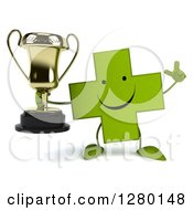 Clipart Of A 3d Happy Green Holistic Cross Character Holding A Thumb Down And A Trophy Royalty Free Illustration