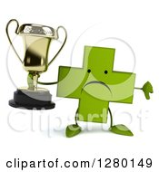 Clipart Of A 3d Unhappy Green Holistic Cross Character Holding A Thumb Down And A Trophy Royalty Free Illustration