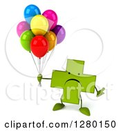 Clipart Of A 3d Unhappy Green Holistic Cross Character Floating And Holding Party Balloons Royalty Free Illustration by Julos
