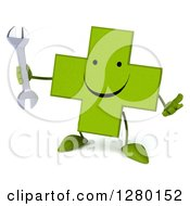Clipart Of A 3d Unhappy Green Holistic Cross Character Holding Up A Finger And A Wrench Royalty Free Illustration by Julos