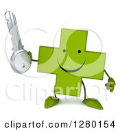 Clipart Of A 3d Happy Green Holistic Cross Character Holding A Key Royalty Free Illustration by Julos