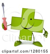 Clipart Of A 3d Happy Green Holistic Cross Character Shrugging And Holding A Screwdriver Royalty Free Illustration by Julos