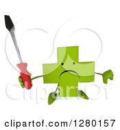 Clipart Of A 3d Unhappy Green Holistic Cross Character Holding Up A Thumb Down And A Screwdriver Royalty Free Illustration by Julos