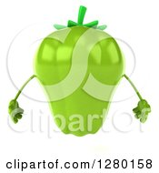 Clipart Of A 3d Green Bell Pepper Character Royalty Free Illustration