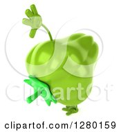 Clipart Of A 3d Green Bell Pepper Character Facing Right And Cartwheeling Royalty Free Illustration