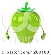 Clipart Of A 3d Green Bell Pepper Character 2 Royalty Free Illustration