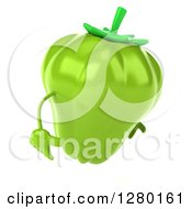 Clipart Of A 3d Green Bell Pepper Character Facing Slightly Right Royalty Free Illustration by Julos