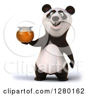 Clipart Of A 3d Happy Panda Holding A Honey Jar Royalty Free Illustration by Julos