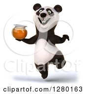 Clipart Of A 3d Happy Panda Jumping And Holding A Honey Jar Royalty Free Illustration by Julos