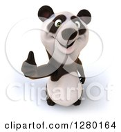 Clipart Of A 3d Happy Panda Holding A Thumb Up Royalty Free Illustration