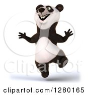 Clipart Of A 3d Happy Panda Jumping Royalty Free Illustration by Julos