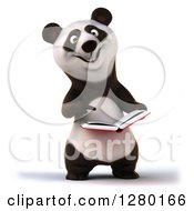 Clipart Of A 3d Happy Panda Holding And Pointing To A Book Royalty Free Illustration by Julos
