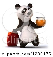 Clipart Of A 3d Happy Panda Holding A Honey Jar And Walking With Rolling Luggage Royalty Free Illustration