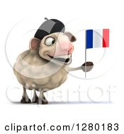 Clipart Of A 3d Happy French Sheep Holding A France Flag Royalty Free Illustration