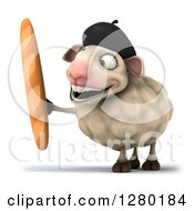 Clipart Of A 3d Happy French Sheep Holding Bread Royalty Free Illustration