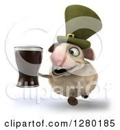 Clipart Of A 3d Happy Irish Sheep Running With A Beer Royalty Free Illustration