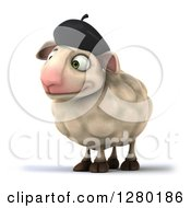 Clipart Of A 3d Happy French Sheep Facing Left Royalty Free Illustration