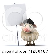 Clipart Of A 3d Happy French Sheep By A Blank Sign Royalty Free Illustration