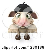 Clipart Of A 3d Happy French Sheep Over A Sign Royalty Free Illustration