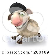 Clipart Of A 3d Happy French Sheep Running To The Left Royalty Free Illustration