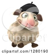 Clipart Of A 3d Happy French Sheep Running Slightly To The Right Royalty Free Illustration