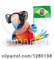 Clipart Of A 3d Scarlet Macaw Parrot Wearing Sunglasses And Holding Up A Brazilian Flag Royalty Free Illustration