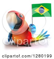 Clipart Of A 3d Scarlet Macaw Parrot Holding Up A Brazilian Flag Royalty Free Illustration