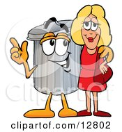 Clipart Picture Of A Garbage Can Mascot Cartoon Character Talking To A Pretty Blond Woman by Toons4Biz