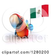 Clipart Of A 3d Scarlet Macaw Parrot Holding Up A Mexican Flag Royalty Free Illustration