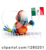Clipart Of A 3d Scarlet Macaw Parrot Holding A Mexican Flag Royalty Free Illustration