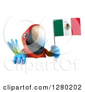 Clipart Of A 3d Scarlet Macaw Parrot Holding Up A Mexican Flag Over A Sign Royalty Free Illustration