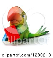 Clipart Of A 3d Green Macaw Parrot Facling Slightly Left And Holding Shopping Bags Royalty Free Illustration