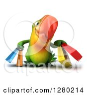 Clipart Of A 3d Green Macaw Parrot Walking And Holding Shopping Bags Royalty Free Illustration