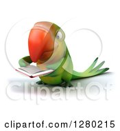 Clipart Of A 3d Green Macaw Parrot Facing Slightly Left And Reading A Book Royalty Free Illustration