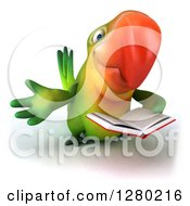 Clipart Of A 3d Green Macaw Parrot Facing Slightly Right Presenting And Reading A Book Royalty Free Illustration