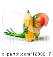 Clipart Of A 3d Green Macaw Parrot Facing To The Right With A Giant Pencil Royalty Free Illustration