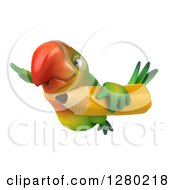 Clipart Of A 3d Green Macaw Parrot Flying To The Left With A Giant Pencil Royalty Free Illustration