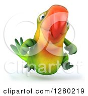 Clipart Of A 3d Green Macaw Parrot Running Forward Royalty Free Illustration