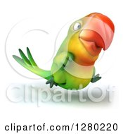 Clipart Of A 3d Green Macaw Parrot Running To The Right Royalty Free Illustration