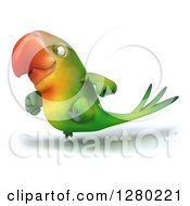 Clipart Of A 3d Green Macaw Parrot Running To The Left Royalty Free Illustration