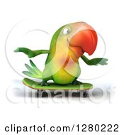 Clipart Of A 3d Green Macaw Parrot Skateboarding Royalty Free Illustration