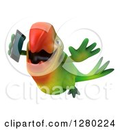 3d Green Macaw Parrot Flying And Talking On A Smart Phone