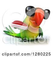 Clipart Of A 3d Green Macaw Parrot Wearing Sunglasses Facing Slightly Right And Holding A Beef Steak Royalty Free Illustration