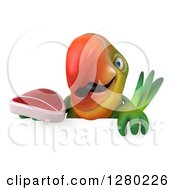 Clipart Of A 3d Green Macaw Parrot Holding A Beef Steak Over A Sign Royalty Free Illustration