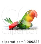 Clipart Of A 3d Green Macaw Parrot Walking To The Right With Rolling Luggage Royalty Free Illustration