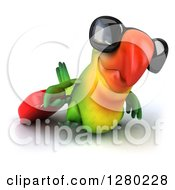 Clipart Of A 3d Green Macaw Parrot Wearing Sunglasses And Walking Slighthly To The Right With Rolling Luggage Royalty Free Illustration