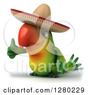 Clipart Of A 3d Green Mexican Macaw Parrot Holding A Thumb Up And Facing To The Left Royalty Free Illustration