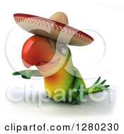 Clipart Of A 3d Green Mexican Macaw Parrot Pointing And Facing To The Left Royalty Free Illustration